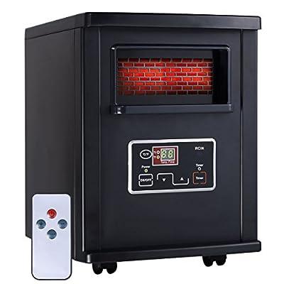 1800 Sq. Ft Electric Portable Infrared Quartz Space Heater Remote Black New