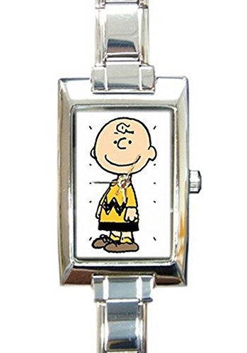 Charlie Brown Rectangular Italian Charm Watch with Stainless Steel 16 Link Wrist Strap Peanuts Snoopy Band 9mm Italian Charm Watch