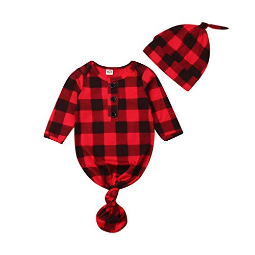 - Baby Nightgown Unisex Newborn Boy Girl Sleeper Gowns Stripe Sleeping Bags Swaddle Sack Coming Home Outfit 0-12M(9-12 Months, Red Plaid)