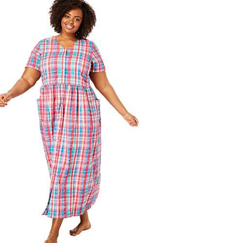 Only Necessities Women's Plus Size Long Seersucker Lounger - Multi Plaid, L