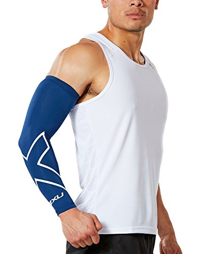 2XU Compression Arm Guard (Single), Navy/White, Large (2xu Arm Compression Sleeve)