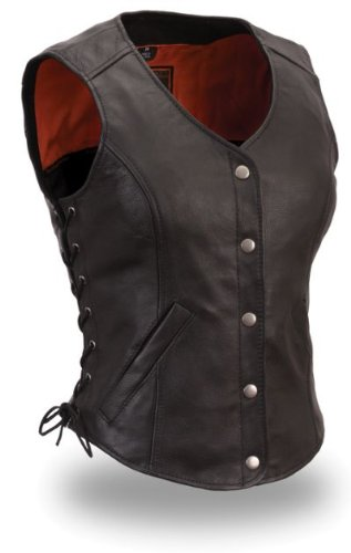 Womens Motorcycle Biker Classic Soft Leather Vest with Side Laces Longer Length Small