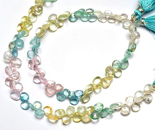 (KALISA GEMS Beads Gemstone 1 Strand Natural Aquamarine Multicolored Facet Heart Shape Briolettes 8.5
