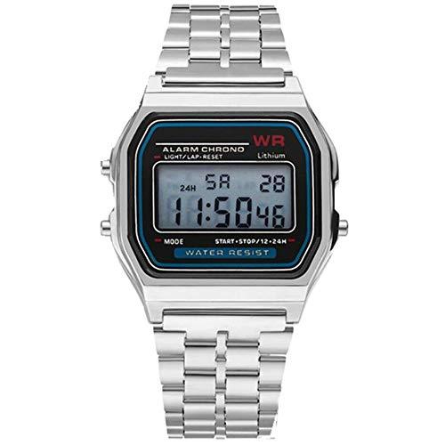 - Respctful✿Mens Boys World Time Quartz Watch Digital Watch Sports Watch Countdown Alarm Clock Stopwatch (Gold)