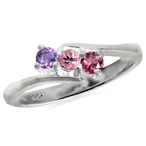3-Stone Natural Pink Tourmaline, Rhodolite Garnet & Amethyst 925 Sterling Silver Ring Size 8