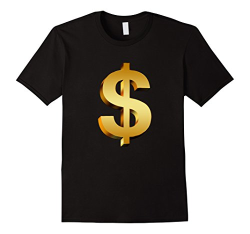 Solid Gold Coin (Mens Big Gold Dollar Sign t-shirt Money Bank Rich Coin XL Black)