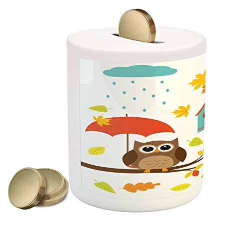 Lunarable Kids Piggy Bank, Cartoon Style Art Print Owl Birds Nest Fall Acorn Maple Tree Funny Umbrella Mushroom, Printed Ceramic Coin Bank Money Box for Cash Saving, (Mushroom Bank)