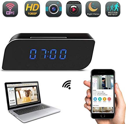 Camcorder Clock - YCTONG Clock Camera HD Hidden Camera WiFi Wireless Nanny Cam Motion Detection Alarm Night Vision Cameras Remote View Surveillance Camcorder for Home Security Office