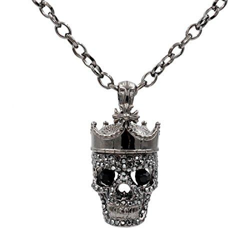 Uniqsum Cross Crown Sparkling Cubic Zirconia Black Eyes Skull Necklace (Gun-Metal)