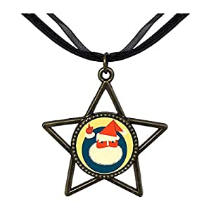 Chicforest Bronze Retro Style Happy Santa Claus Five Pointed Star Pendant