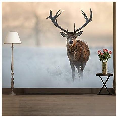 azutura Red Hirsch Hirsch Fototapete Weiße Winterlandschaft Tapete  Schlafzimmer Dekor Erhältlich in 8 Größen Extraklein Digital