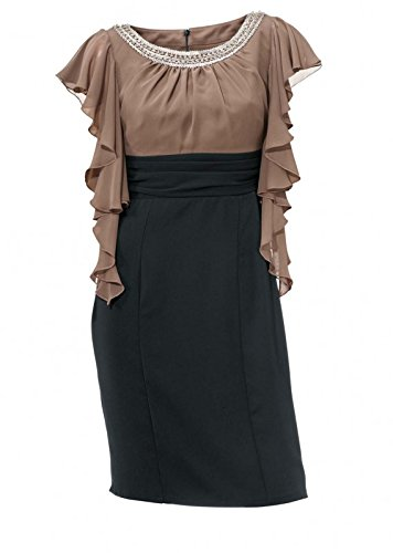 bffc719a6146 Ashley Brooke Designer-Cocktailkleid, taupe-schwarz Gr. 40: Amazon ...