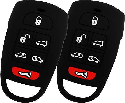 KeyGuardz Keyless Entry Remote Car Key Fob Outer Shell Cover Soft Rubber Case for Hyundai Entourage Kia Sedona Mini Van (Pack of 2)