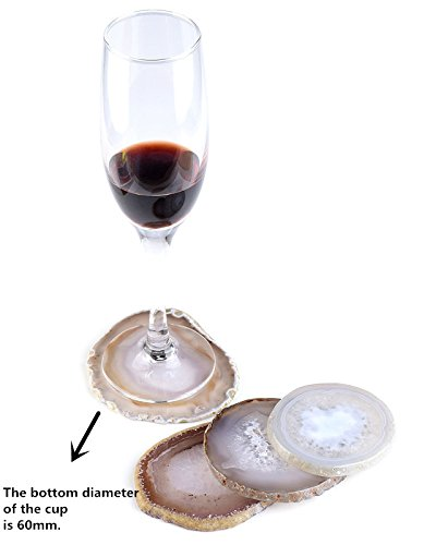 Top Plaza 3 Inches Natrual Brown Agate Slices Geode Coasters Cup Mat Beverage Coasters for Drinks Set of 4 Gift