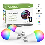 Novostella E27 RGB Alexa Light Bulbs, LED WiFi Smart Bulb Work with Google Home, IFTTT, Dimmable Timing RGBCW Tunable White (2700-6500K), 7W 600lm, Remote Controlled, 3 Pack (No Hub Required)