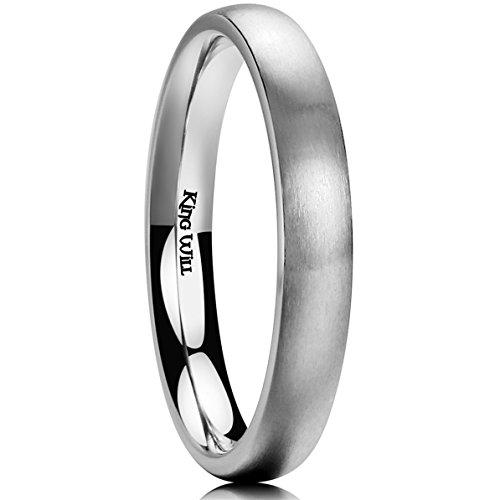 (King Will Basic 3MM Titanium Ring Brushed/Matte Comfort Fit Wedding Band for Men Women 10.5)