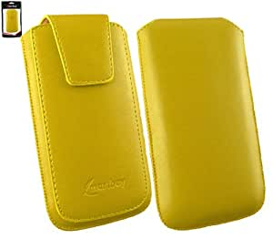 Emartbuy® Sleek Range Amarillo Cuero PU de Lujo Funda Carcasa Case Tipo Bolsa ( Size 3XL ) con Cierre Magnético y Mecanismo de Pestaña para Estirar apto para Unusual U40Y 4 Inch Smartphone