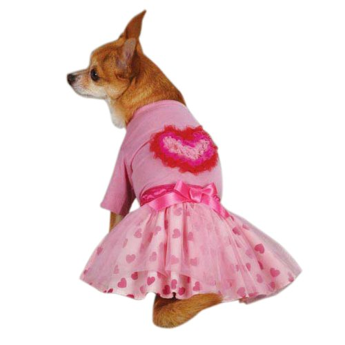 East Side Collection ZM2923 14 75 Chiffon Heart Set for Pets, Small/Medium, Pink