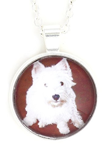 Magic Metal West Highland White Terrier Necklace Silver Tone NW30 Pet Westie Puppy Dog Photo Art Dome Pendant
