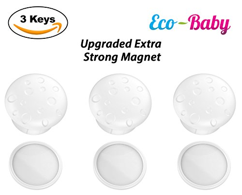 Eco-Baby (3) Universal Replacement Keys for Magnetic Cabinet Locks Child Safety for Drawers and Cabinets - Child Proof Cabinet Locks (3 Keys Only)