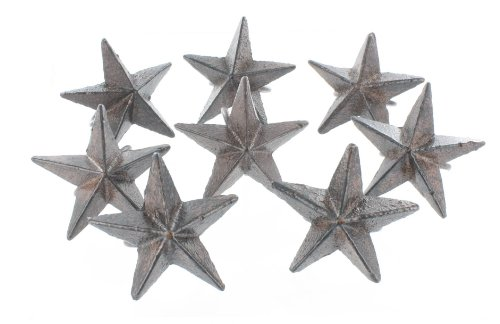 Rustic Heavy Cast Iron Star Napkin Rings / Holder - Set of 8 - Modern Western Ring