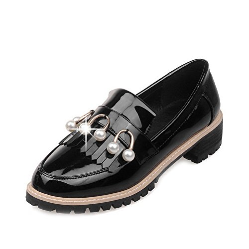 Closed Shoes Black WeiPoot Pull Patent Low on Solid Pumps Toe Women's Heels Leather Round 7OOAxqEf