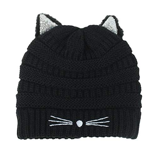 Kitty Cat Ears Beanie Knit Hat- Warm Glitter Winter Stretch Snow Cap with Sparkle Ears (Silver Shimmer on Black) ()