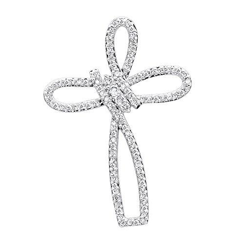 Ladies 14k Rose, White or Yellow Gold Diamond Cross Small Pendant Fancy Bow Design 0.3ctw (Yellow Gold)
