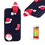 Cute Cartoon Case For Samsung Galaxy A3 2017,Funyee Stylish 3D Christmas Santa Claus Design Ultra Thin Soft TPU Silicone Case for Samsung Galaxy A320/A3 2017,Anti-scratch Rubber Durable Shell Smart Phone Case with Free Screen Protector,Black