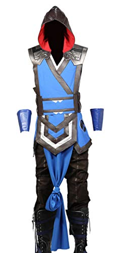 Sub Zero Costume PU Leather Outfit Mortal Kombat Halloween Cosplay Suit Accessory Prop XL]()