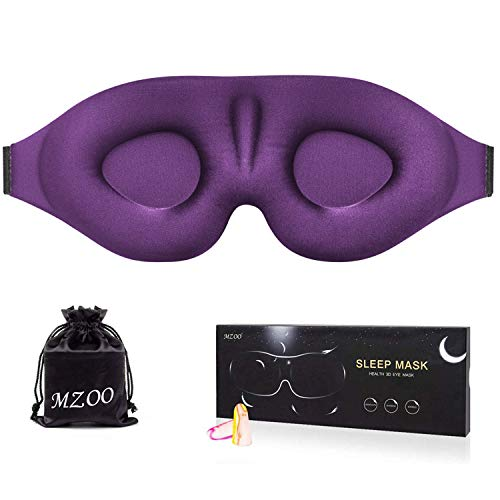MZOO Sleep Eye Mask for Men Women, 3D Contoured Cup Sleeping Mask & Blindfold with Ear Plug, Concave Molded Night Sleep Mask, Block Out Light, Soft Comfort Eye Shade Cover for Travel Yoga Nap, Purple