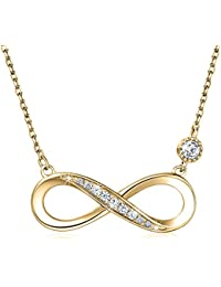 """925 Sterling Silver Necklace – Billie Bijoux """"Forever Love"""" Infinity Heart Love Pendant White Gold Plated Diamond Women Necklace Gift for Valentine's Day (Gold)"""