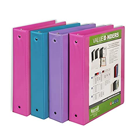 Samsill Fashion Color 3 Ring Binder, 1.5 Inch Round Rings, Clear View Binder, 4 Pack Assorted - Bubblegum Pink, Sky Blue, Wisteria (Binders 3 Ring Fashion)