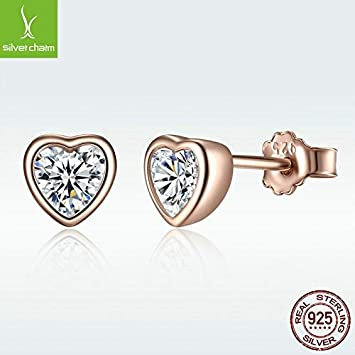 Transparent,One Size 925 Sterling Silver Love Heart Stud Earrings Rose Gold Plated Fine Jewelry Naomi Silver Charm