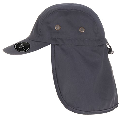 Enimay UV Outdoor Sun Protection Fishing Cap With Neck Flap For Baseball Backpacking Cycling Hiking Garden Hunting Camping For Adult And Youth Dark Grey One Size