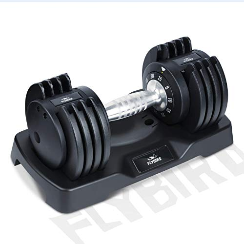 FLYBIRD Adjustable Dumbbell,25/55lb Single Dumbbell for Men and Women with Anti-Slip Metal Handle,Fast Adjust Weight by…