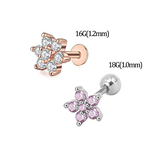 316L Surgical Steel Labrets Stud Tiny CZ Flower Lip Studs Medusa Monroe Piercing Helix Cartilage Conch Tragus Lobes Stud Earrings for Women Girls(E) ()