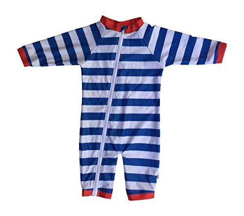 SwimZip® Little Boy Long Sleeve Sunsuit with UPF 50 Sun Protection Blue 0-6 Month