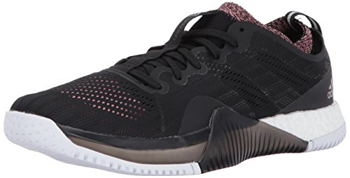 (adidas Women's Crazytrain Elite Cross-Trainer Shoes, Black/Tech Silver/Tactile Rose, (8.5 M US))