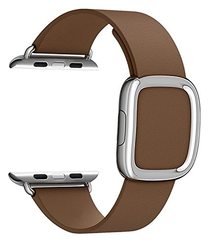 JSGJMY Apple Watch Band 42mm Cuff Leather Loop Original Modern Buckle With Magnetic Clasp Replacement Strap for iwatch Series1 Series2 (42mm Brown+Sliver Buckle)