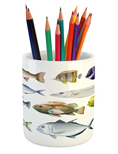 - Lunarable Fish Pencil Pen Holder, Type of Pacific Fish with Mackerel Salmon and Sea Bass Exotic Wild Life Theme Print, Ceramic Pencil Holder for Desk Office Accessory, 3.6
