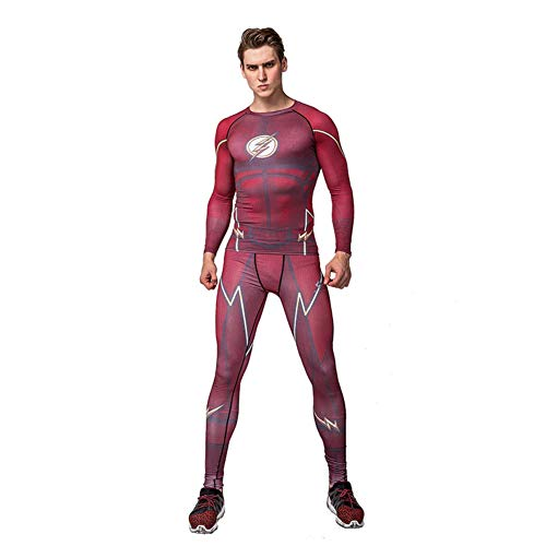 Fashion Mens Red Flash Compression Shirt Pants Suit for Runing L