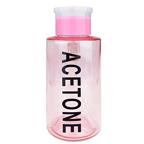 PANA Brand 10oz. (Quantity: 1 Pieces) Acetone Labeled Liquid Push Down Pump Dispenser Bottle (Pink)