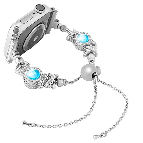 Wearlizer Compatible with Apple Watch Band 38mm 40mm Womens iWatch Fashion Handmade Crystal Bling Beads with Rhinestone Bracelet Jewelry Replacement Wristbands Strap for Series 4 3 2 1-Blue