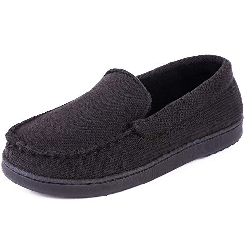 Cozy Niche Women's Moccasin Slippers, Anti-Slip House Shoes, Indoor Outdoor Rubber Sole Loafers (Black, 8 B(M) US) (Best Niches For 2019)