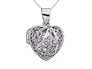 Sterling Silver Rhodium Heart Filigree Locket Pendant Necklace Chain Included