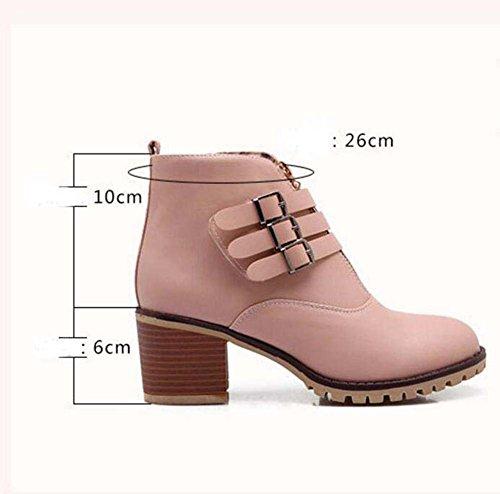 Eu New Toe Botas Heel Chelsea Bota O 6cm Hebilla 44 Mujer Moda Boots Chunkly Corte Ronda Casual Zapatos Pura Color 32 Pin Auturm Zipper Martin Winter Tama 50REXq1nwx