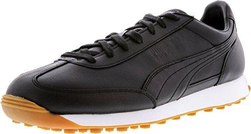 Puma Menns Easy Rider Premium Ankel-høy Skinn Mote Sneaker Svart / Svart-hvitt