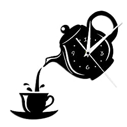GZGJ DIY Teapot and Cup Design Acrylic Mirror Modern Wall Clock Tea Kettle Shaped Hanging Clock Watch Kitchen Clock Jug with A Cup