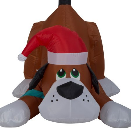 Easy Set-Up Airblown Self Inflatable Energy-Efficient Christmas Playful Puppy Dog with Santa Hat, 2.5 Tall (1) by Gemmy (Image #1)